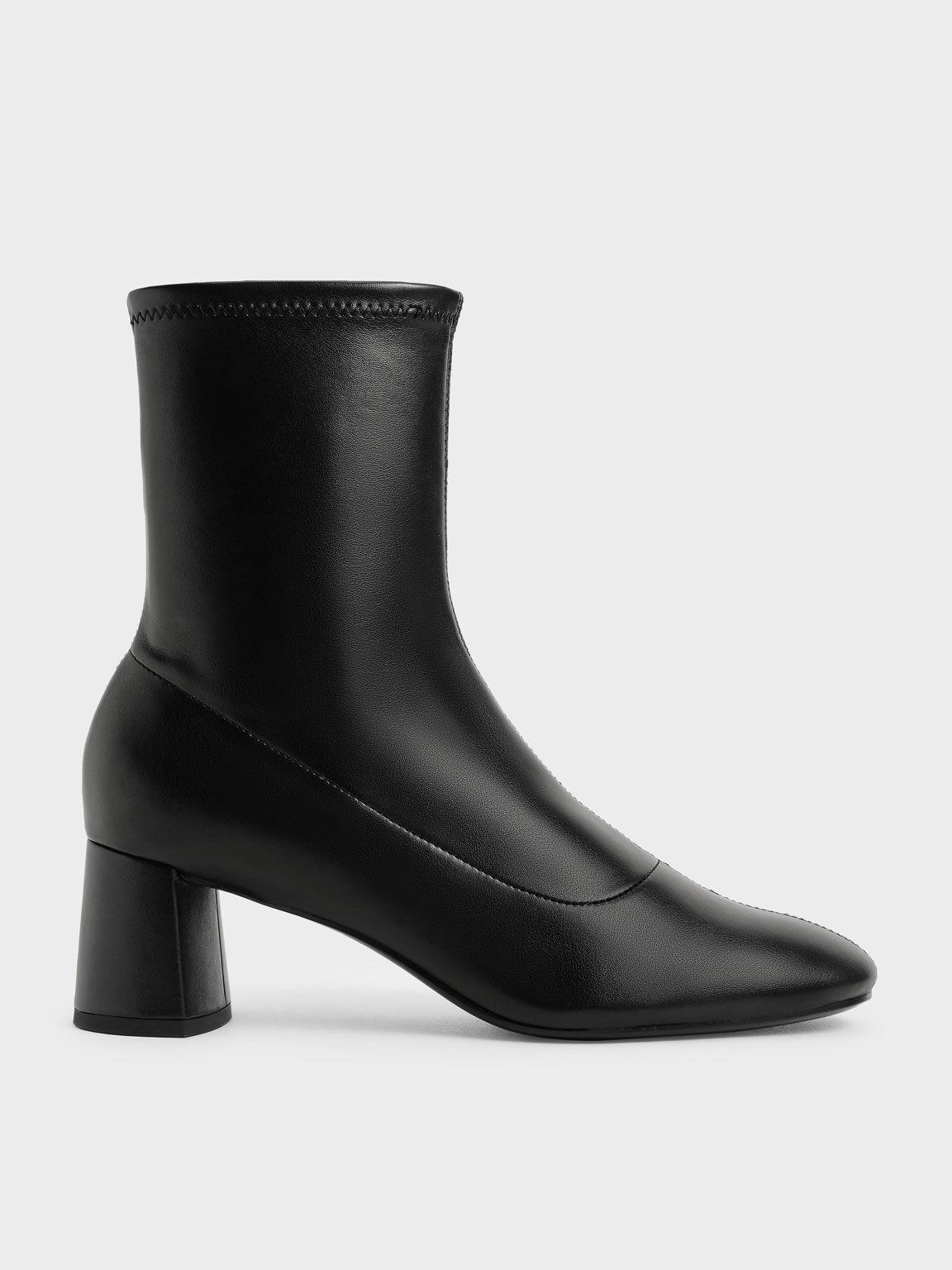Stitch-Trim Ankle Boots, Black, hi-res
