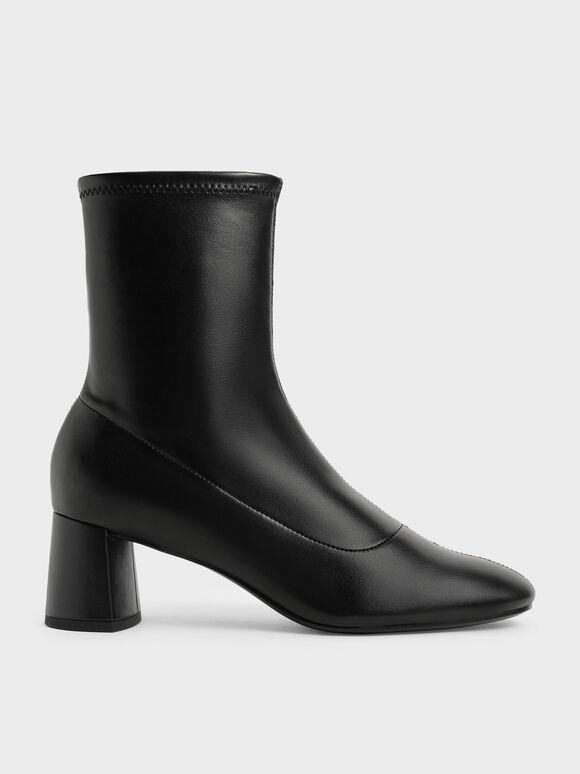 貼腿粗跟短靴, 黑色, hi-res