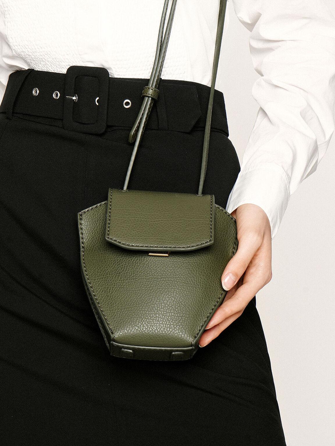 Geometric Crossbody Bag, Olive, hi-res