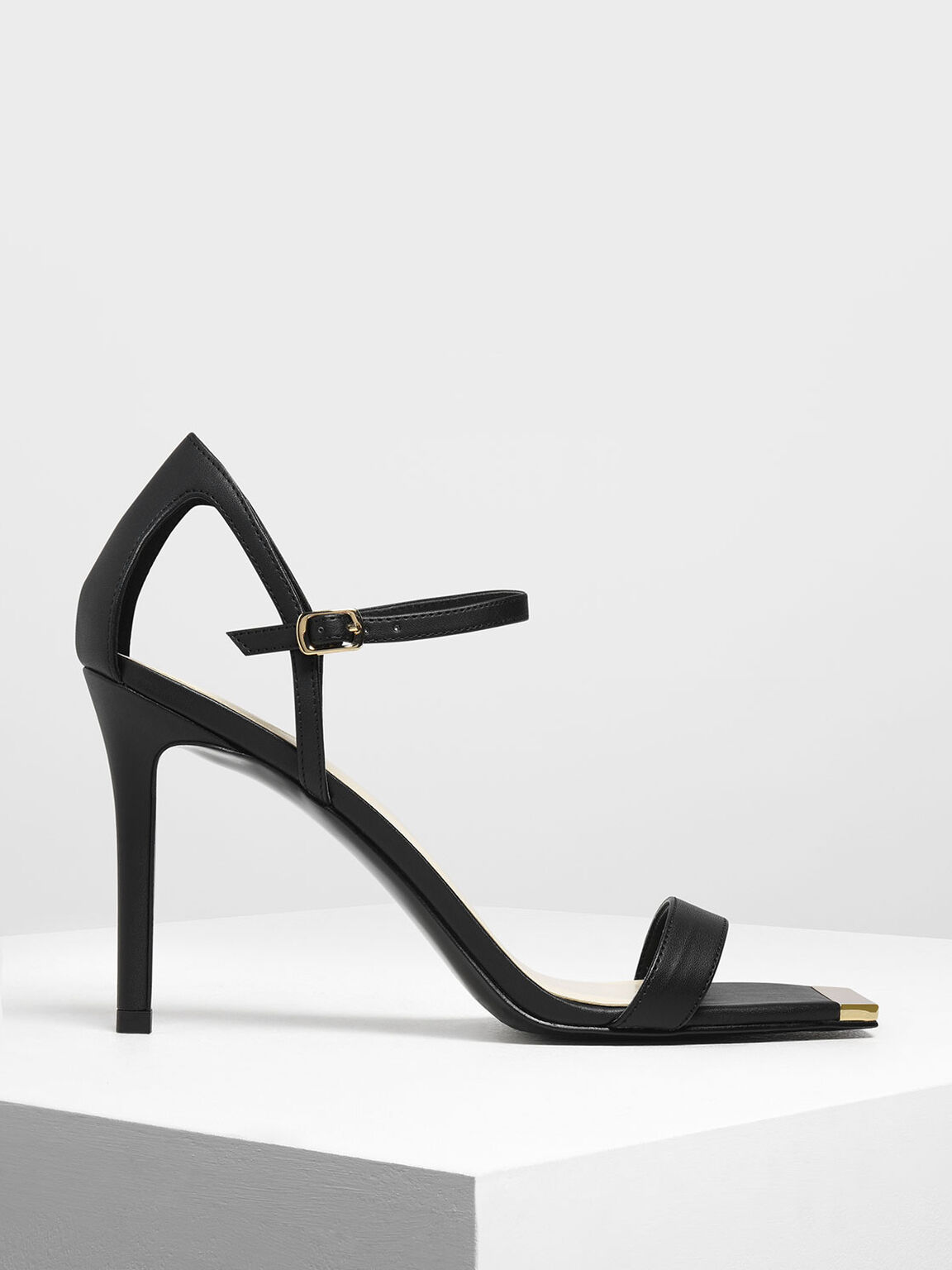 Square Toe Gold Detail Sandals, Black, hi-res