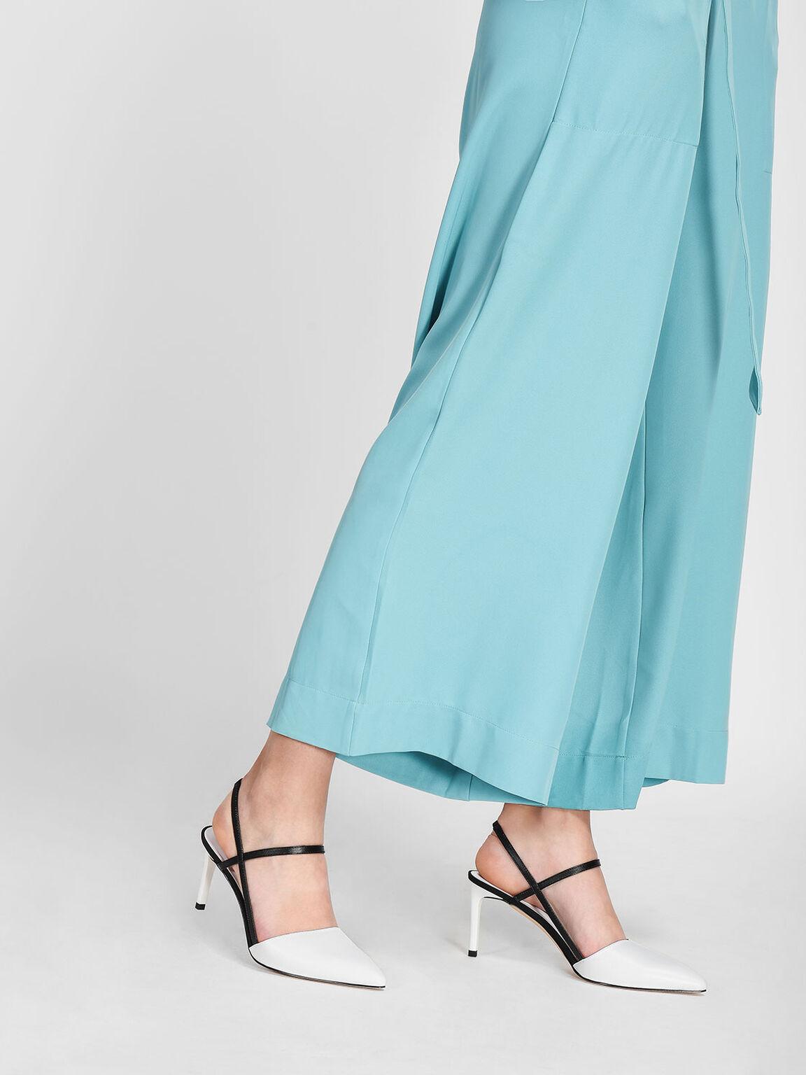 Contrast T-Bar Slingback Heels, White, hi-res