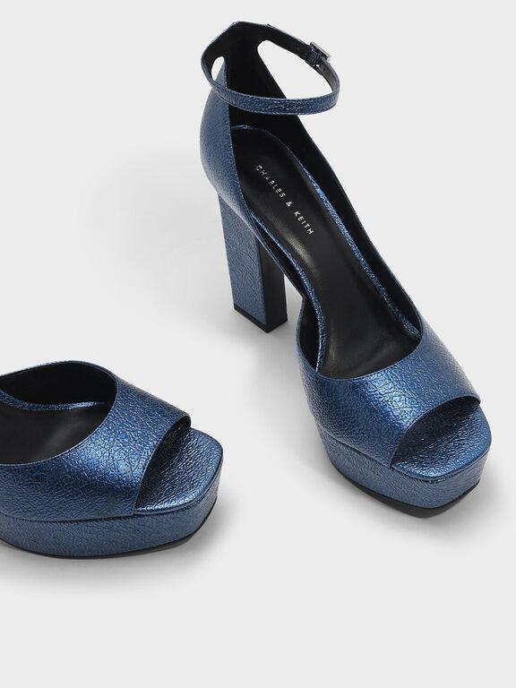Blade Heel Platform Sandals, Dark Blue