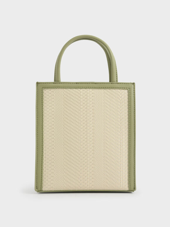 Molly Chiang Collection: Woven Tote Bag, Sage Green, hi-res