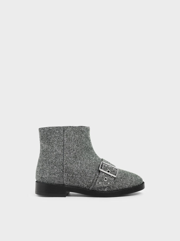 Girls' Woven Fabric Studded Ankle Boots, Dark Grey, hi-res