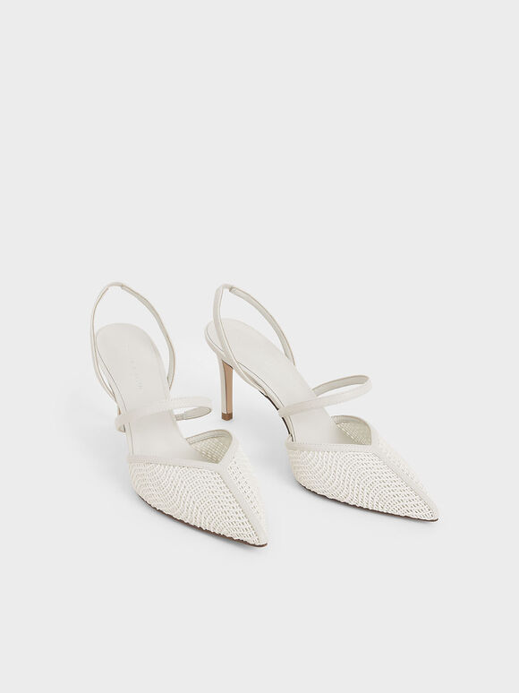 Woven Mary Jane Slingback Pumps, Chalk, hi-res