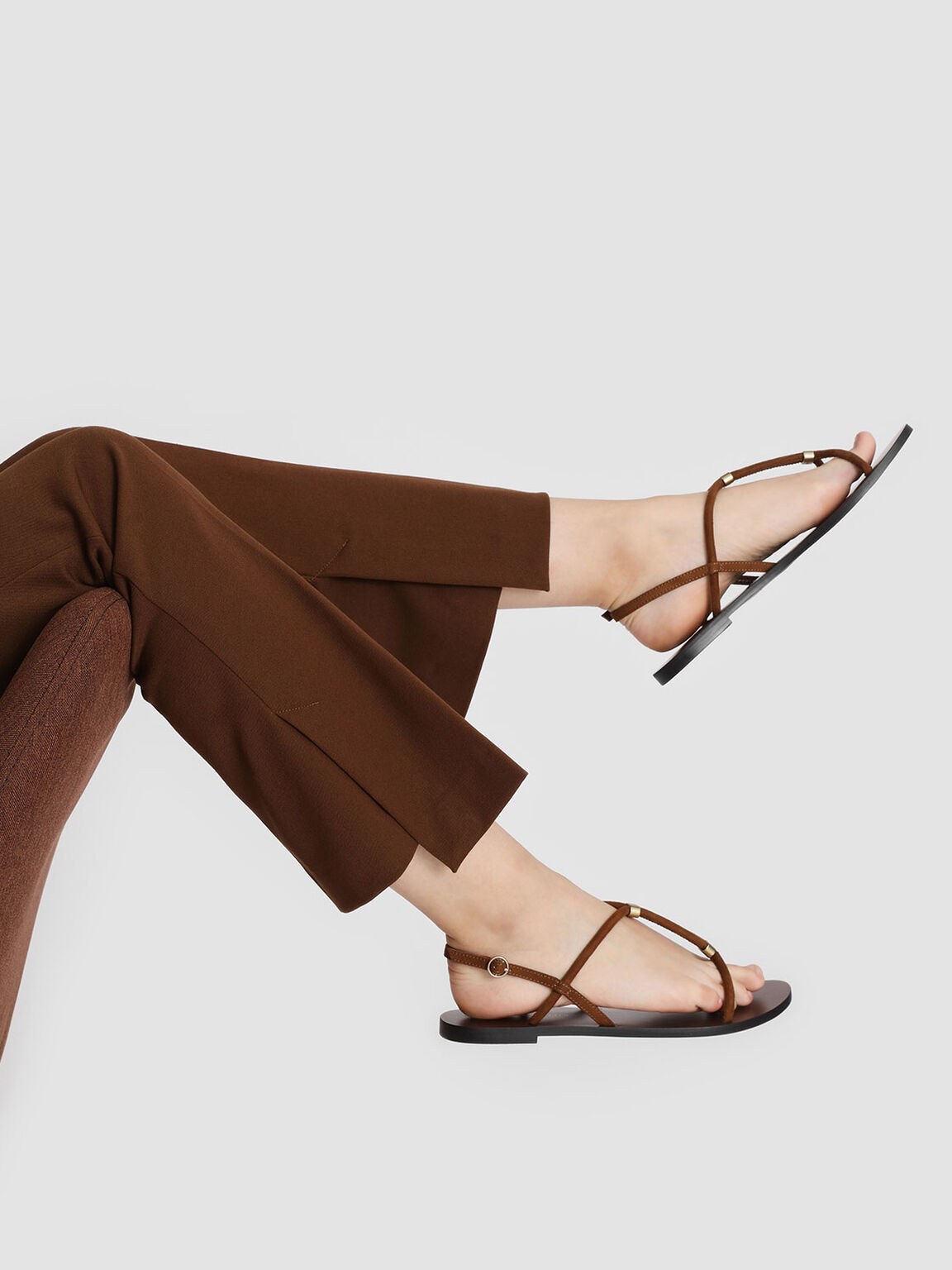 Gold Accented T-Bar Sandals, Brown, hi-res