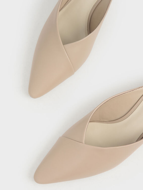 Pointed Toe Wedge Heel Mules, Beige