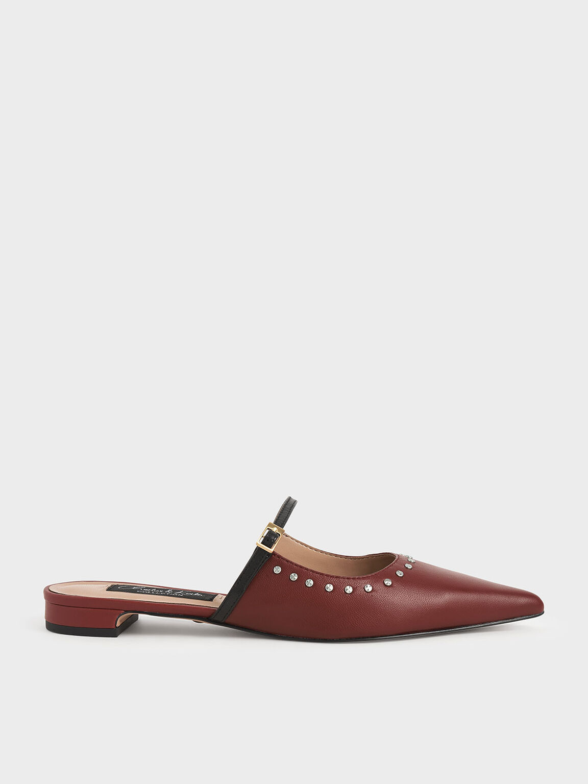 Studded Leather Mules, Brick, hi-res