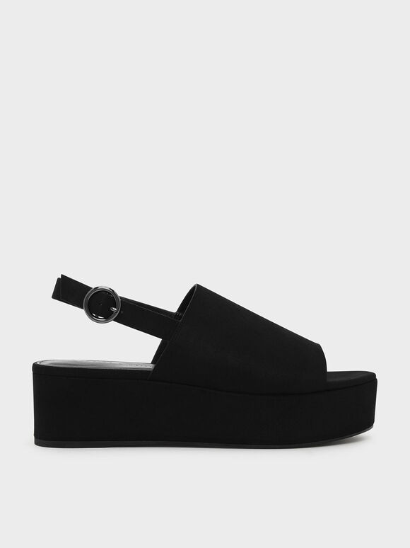 Slingback Flatforms, Black, hi-res