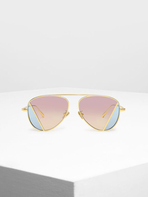 Two-Tone Aviator Sunglasses, Pink, hi-res