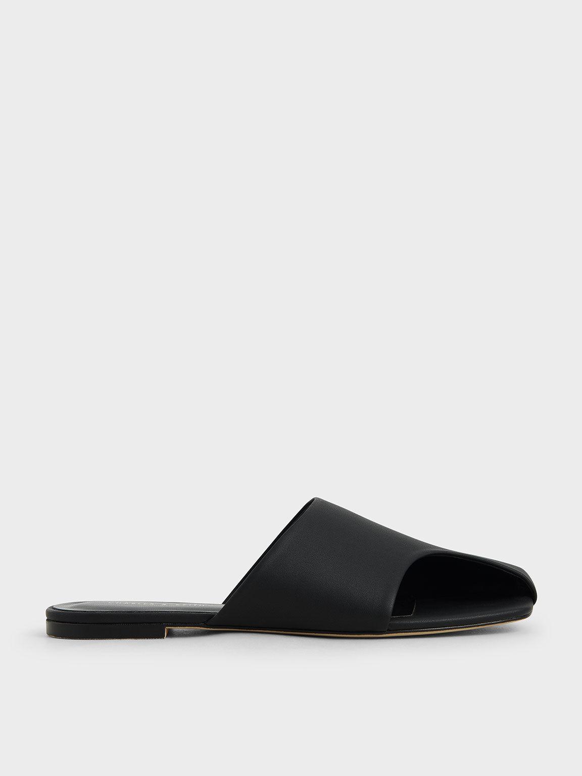 Cut-Out Slide Sandals, Black, hi-res