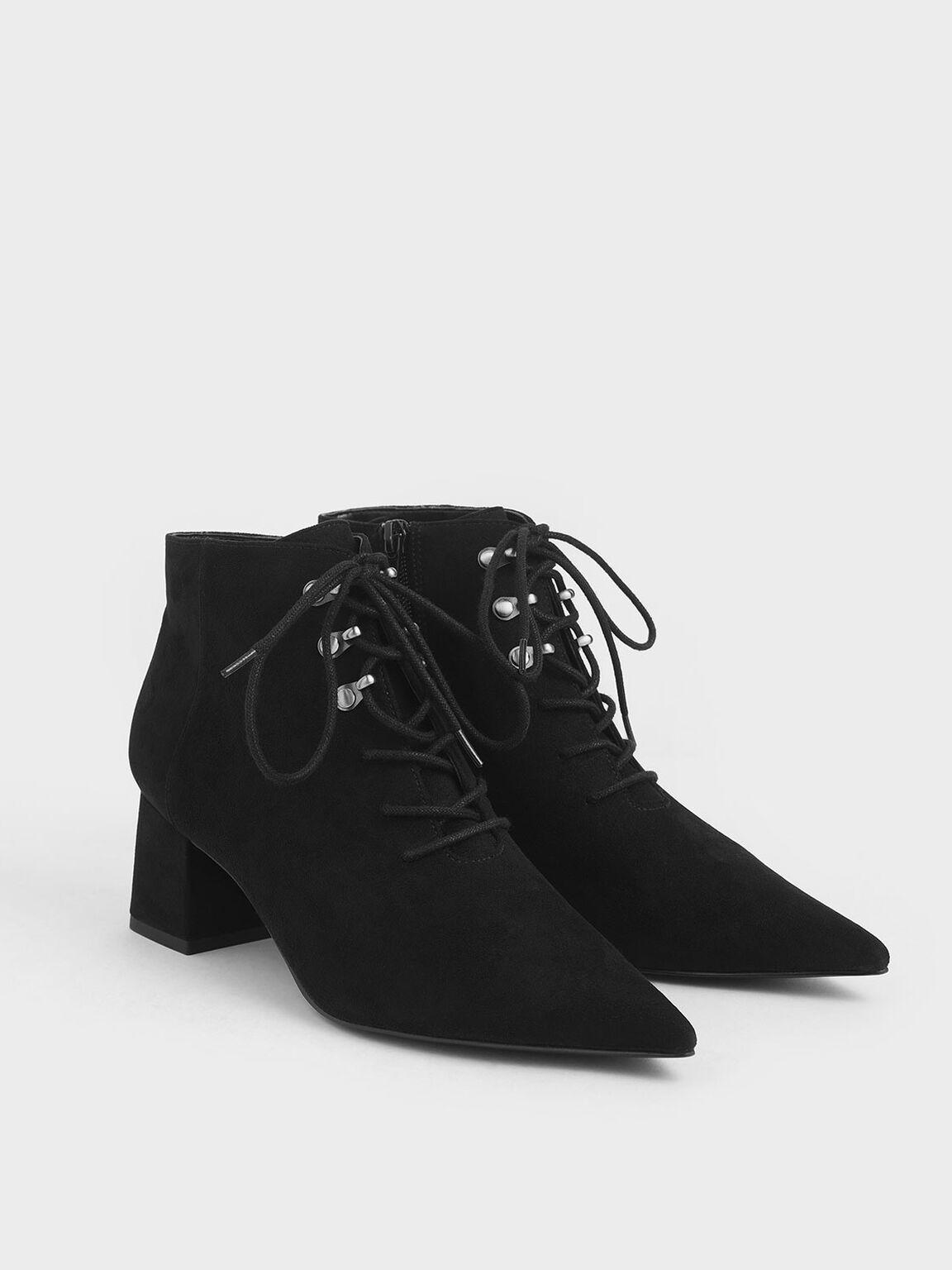 尖頭簡約踝靴, 黑色, hi-res