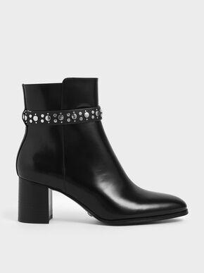 Leather Embellished Ankle Boots, Black