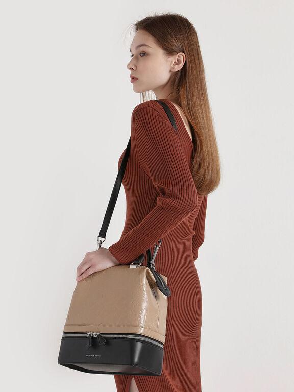 Wrinkled Effect Two-Way Zip Large Boxy Bag, Beige, hi-res