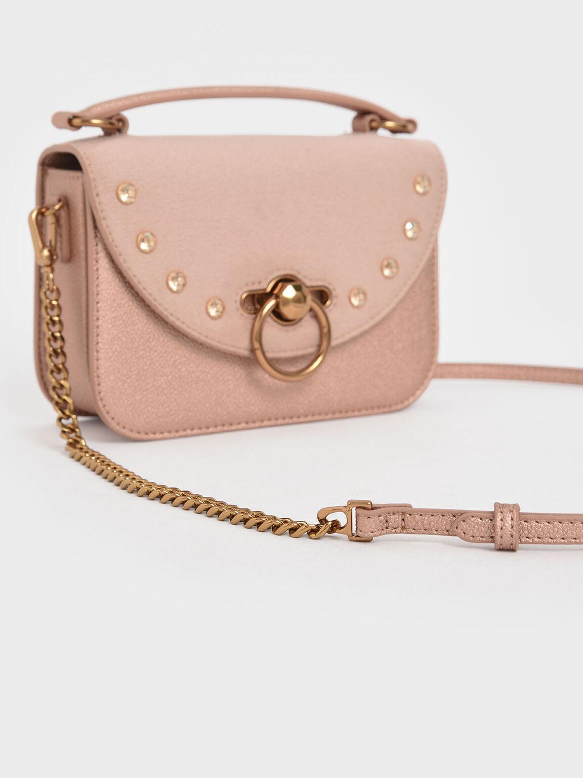 Ring Push Lock Embellished Bag, Rose Gold, hi-res