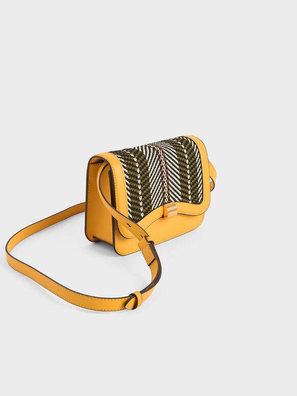 Woven Crossbody Bag, Yellow, hi-res