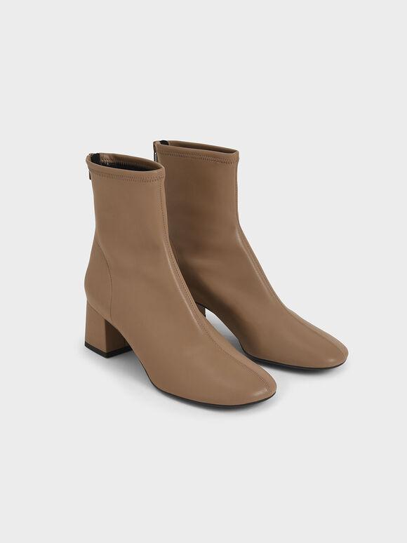 Stitch-Trim Block Heel Ankle Boots, Brown, hi-res