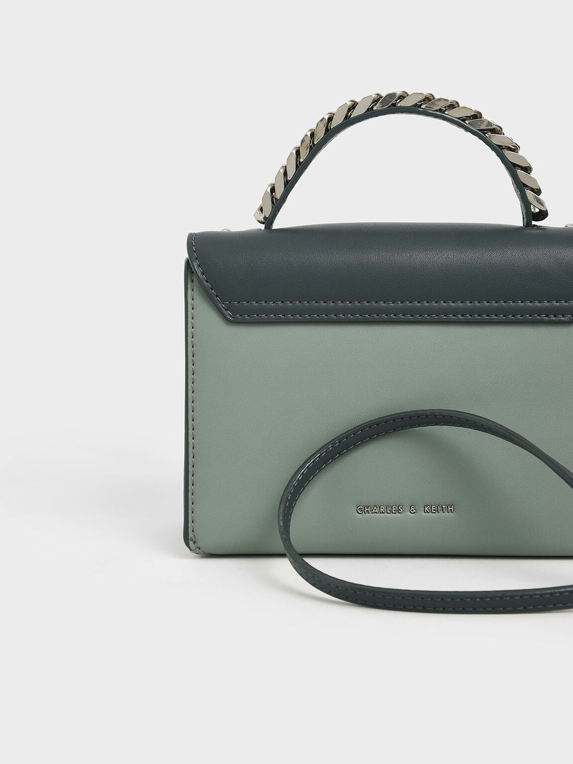 Chunky Metal Top Handle Bow Flap Bag, Sage Green, hi-res
