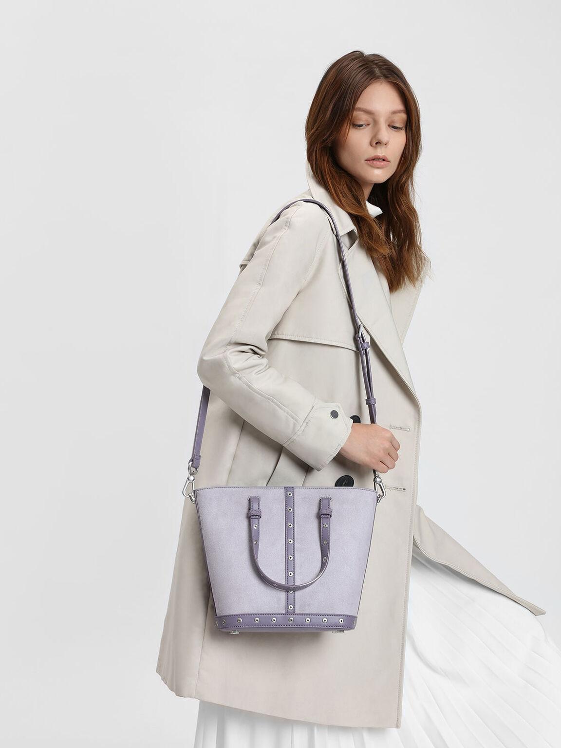 Embellished Tote Bag, Lilac Grey, hi-res