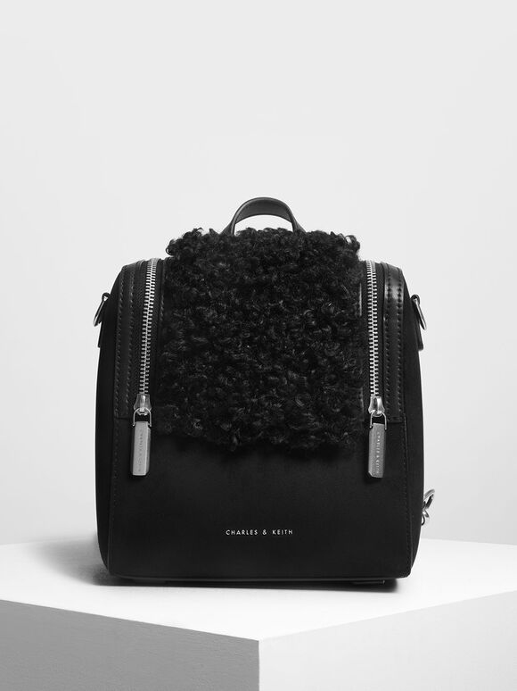 Zipper Detail Backpack, Black, hi-res