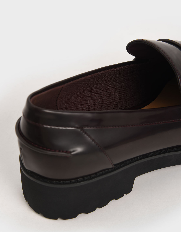 Burgundy Platform Penny Loafers