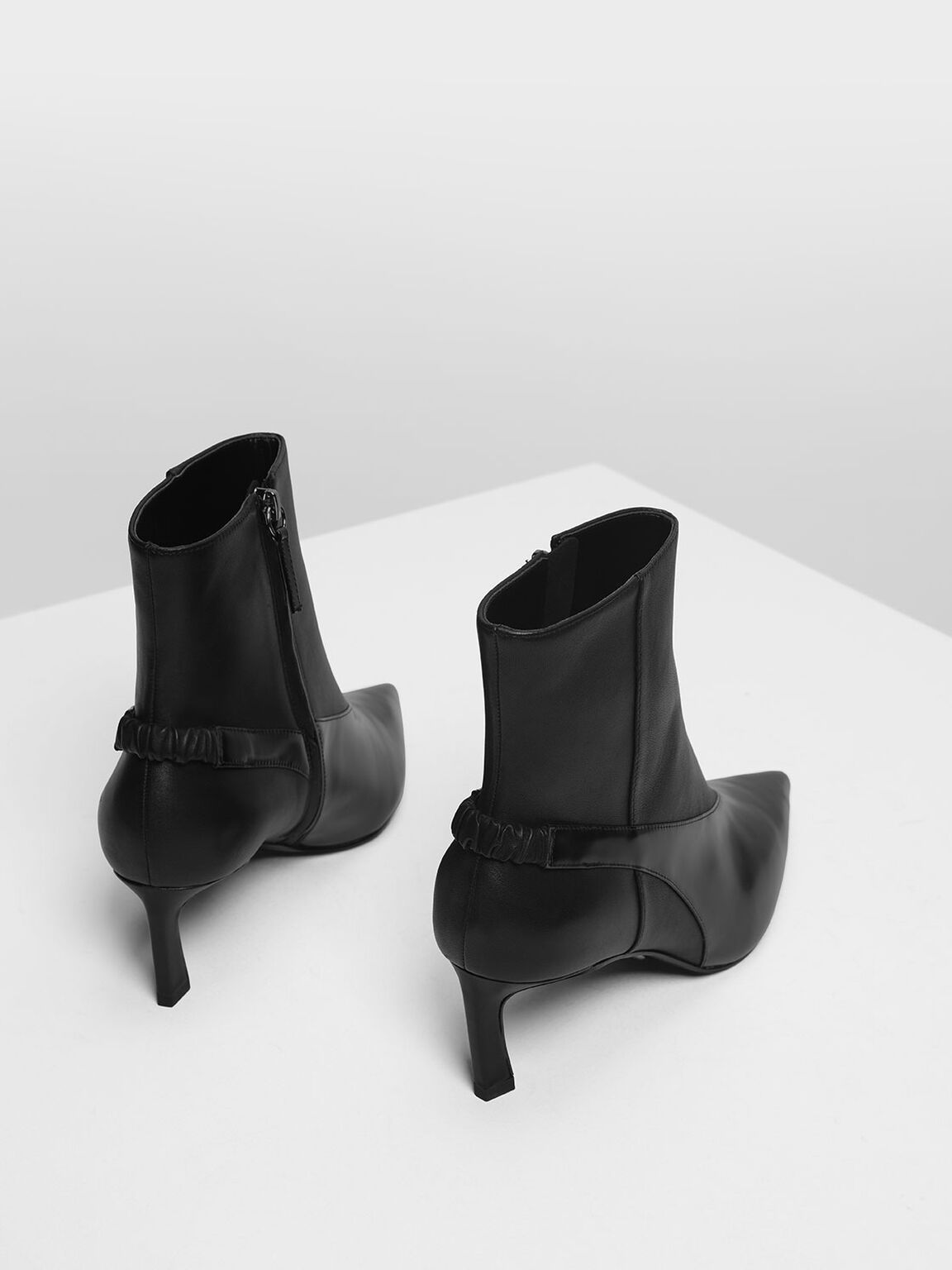 Slingback Effect Leather Ankle Boots, Black, hi-res