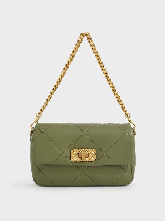 Puffy Metallic Turn-Lock Crossbody Bag, Olive, hi-res