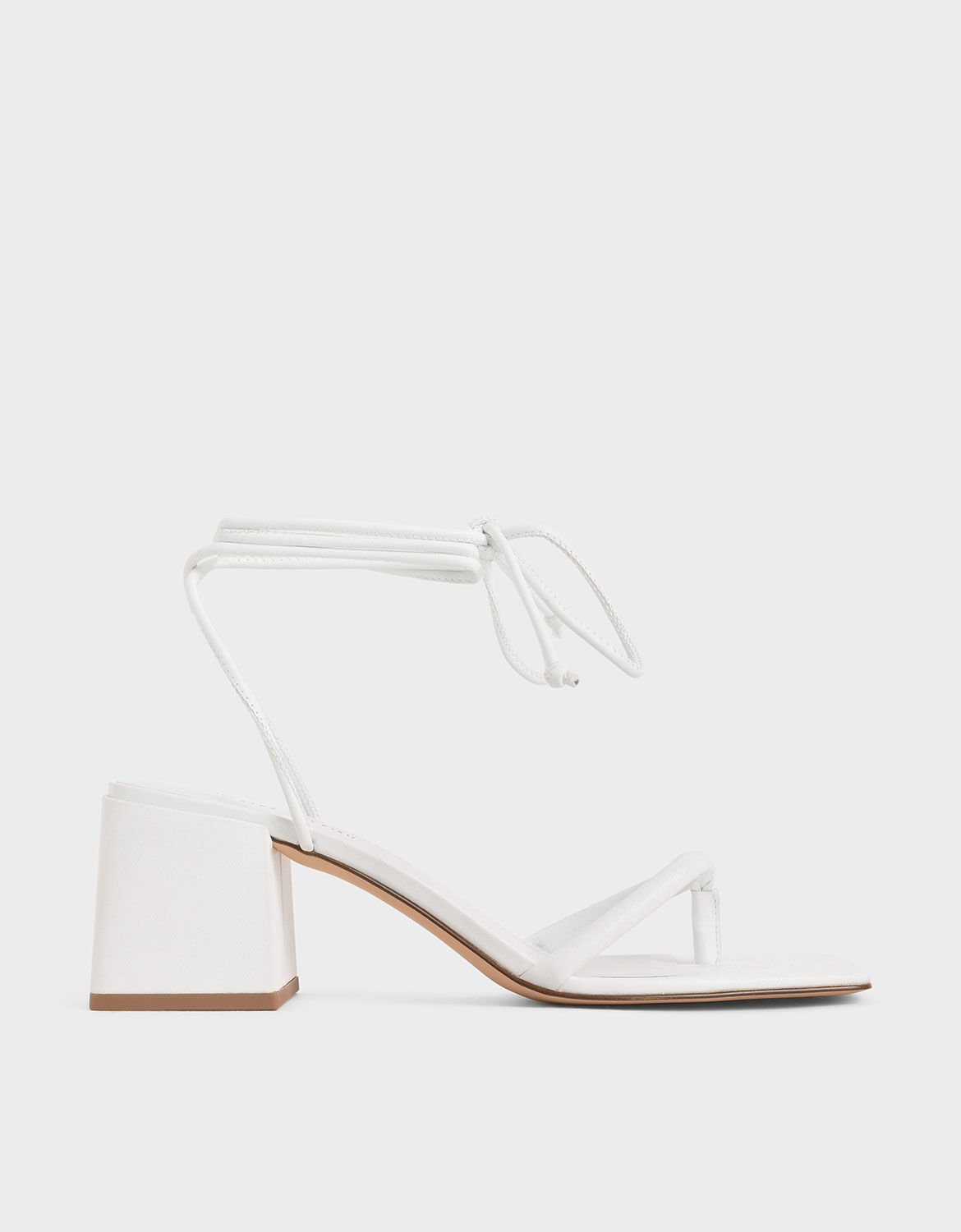 White Lace Up Block Heel Sandals