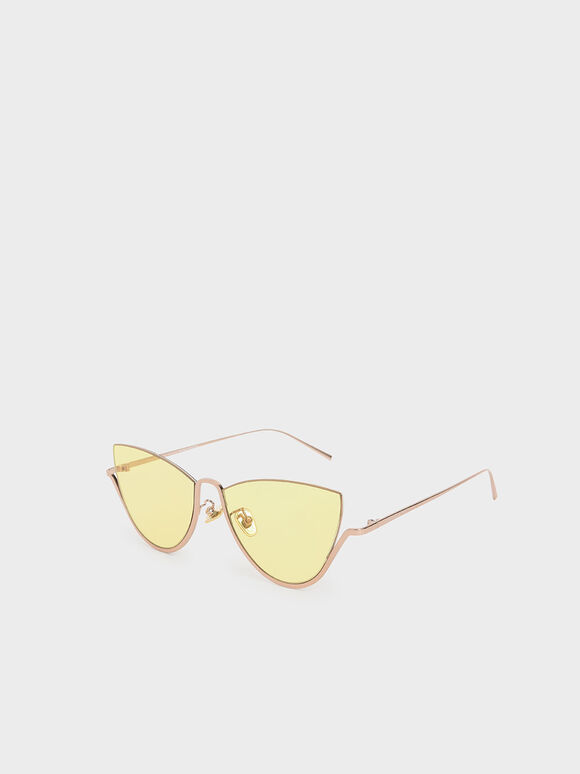 Half Frame Cat-Eye Sunglasses, Yellow, hi-res