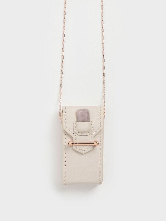 Rose Quartz Stone Opera Necklace Bag, Cream, hi-res