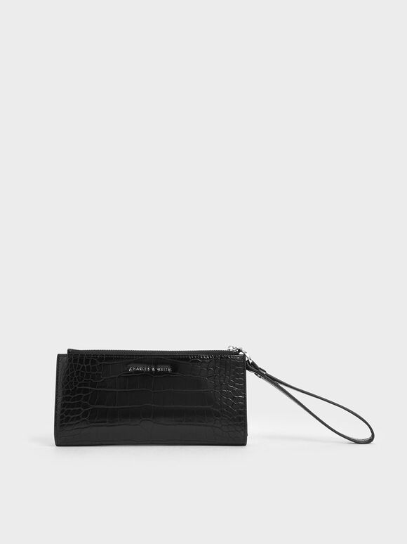 Mini Croc-Effect Wristlet Wallet, Black, hi-res