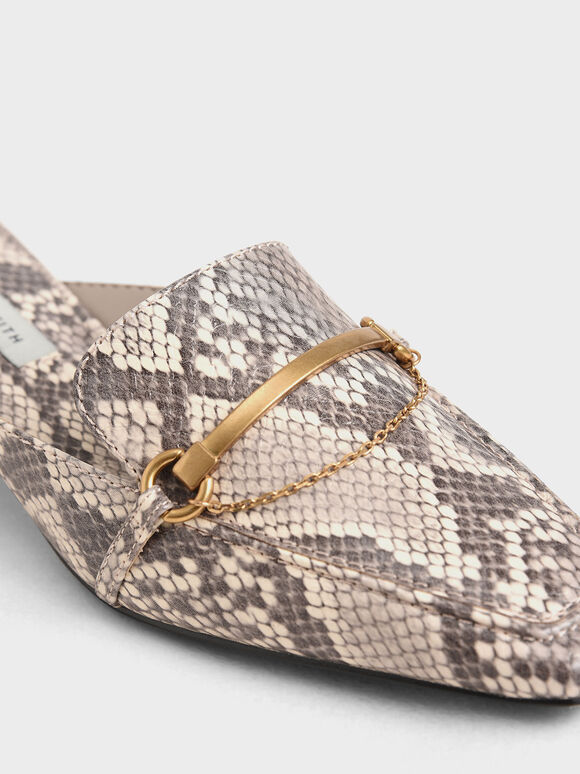 Snake Print Metallic Accent Loafer Mules, Animal Print Natural, hi-res