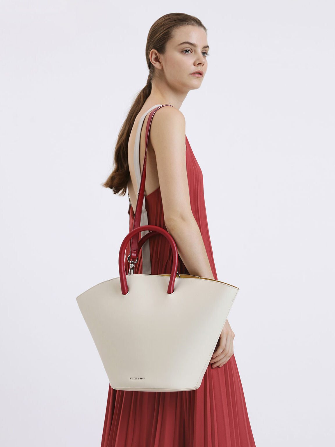 Two-Tone Large Trapeze Tote, White, hi-res