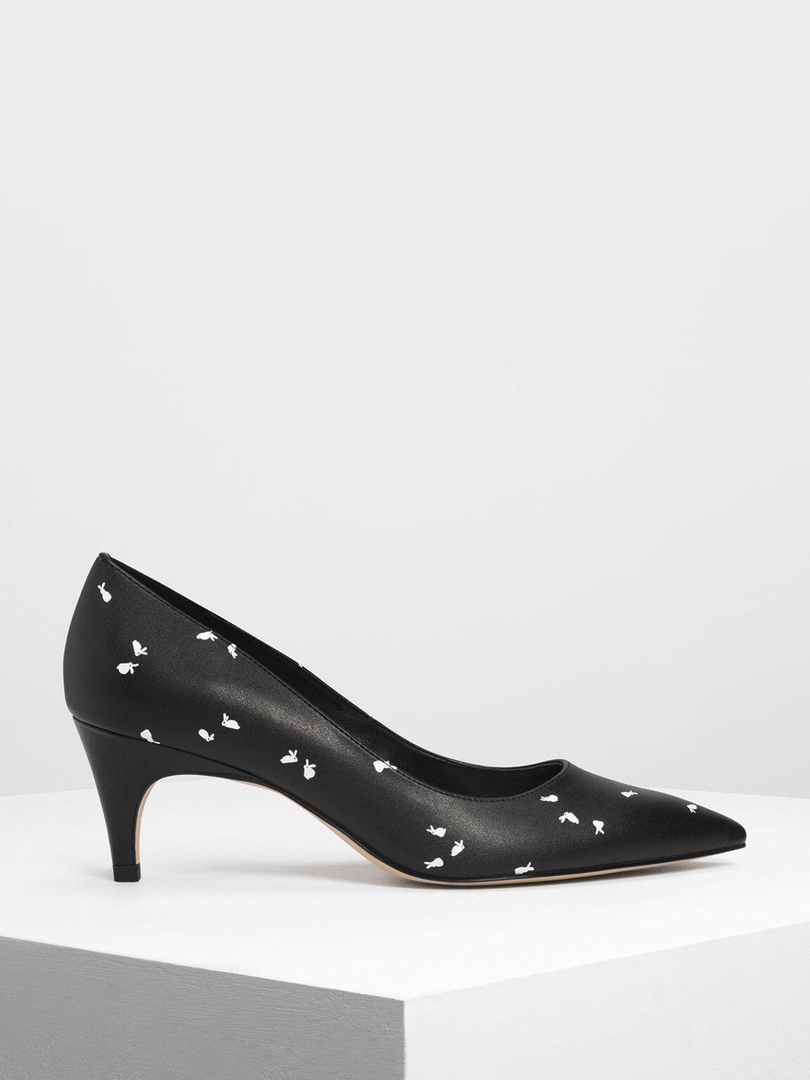小兔印花低跟鞋, 黑色特別款, hi-res