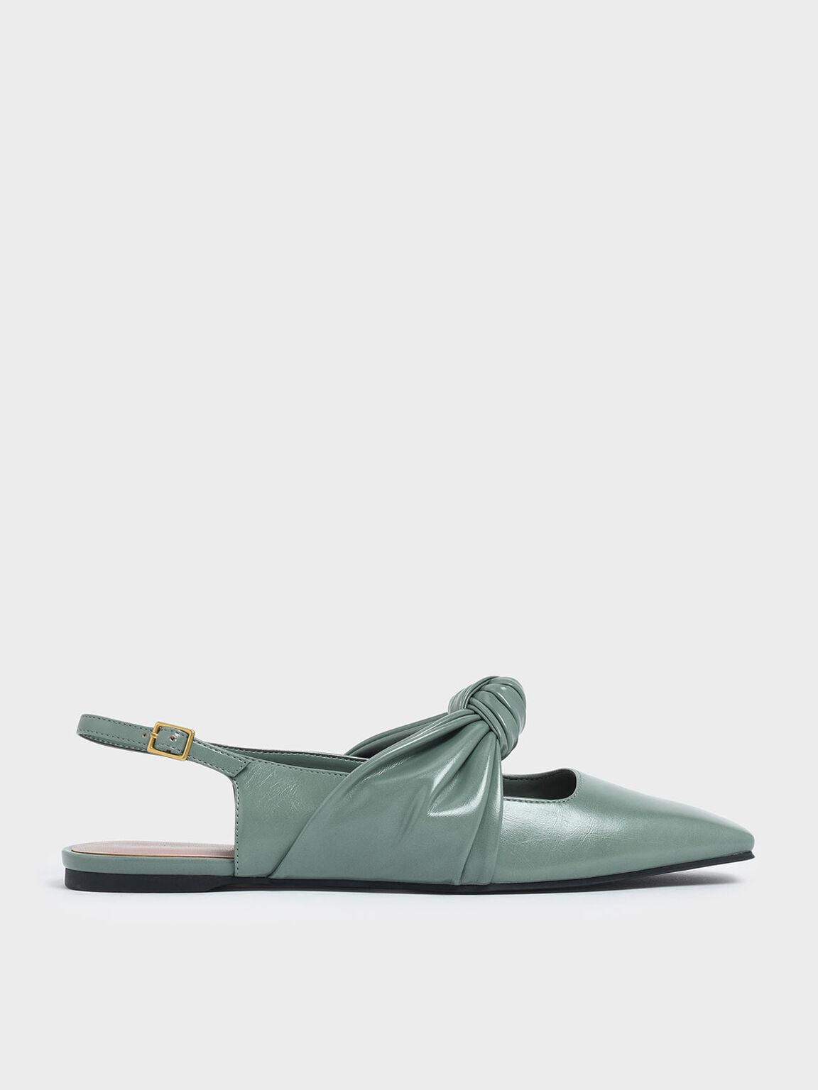 扭結平底鞋, 綠色, hi-res