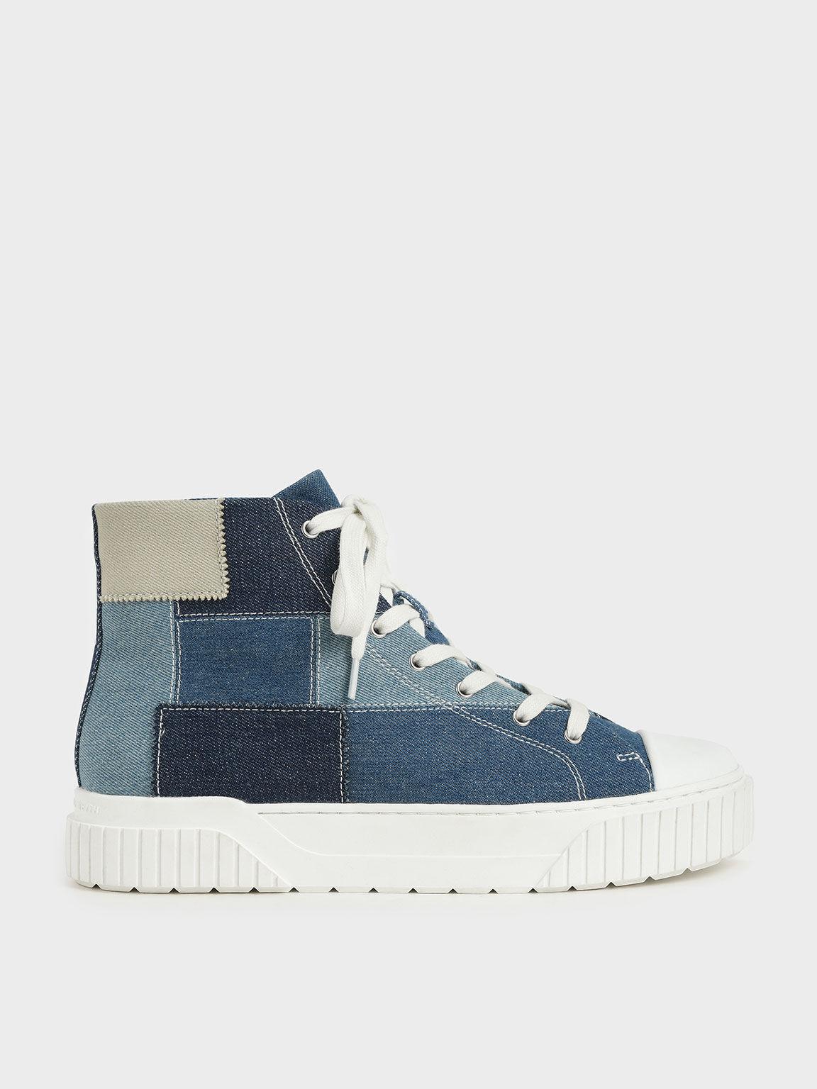 Denim Patchwork High Top Sneakers, Blue, hi-res