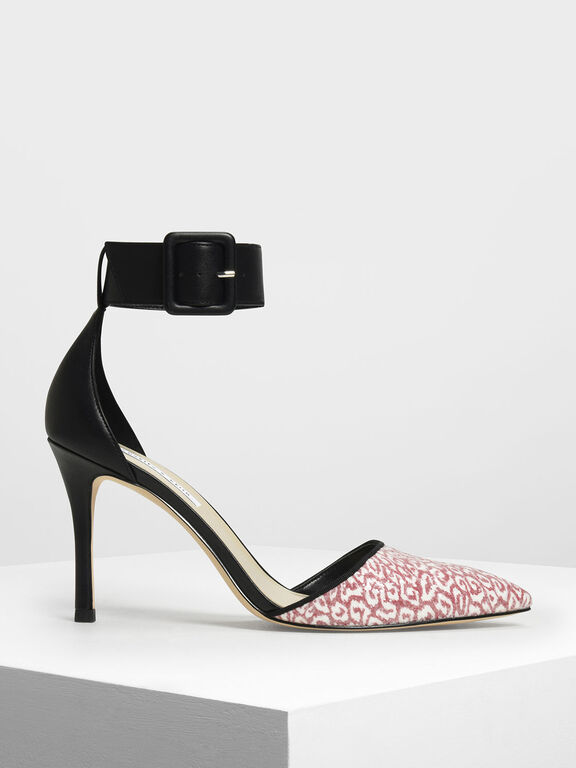 Glitter Fabric Ankle Cuff Heels, Red