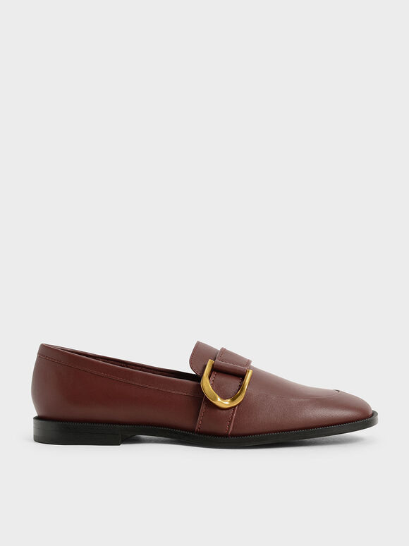 Gabine Buckled Leather Loafers, Brown, hi-res