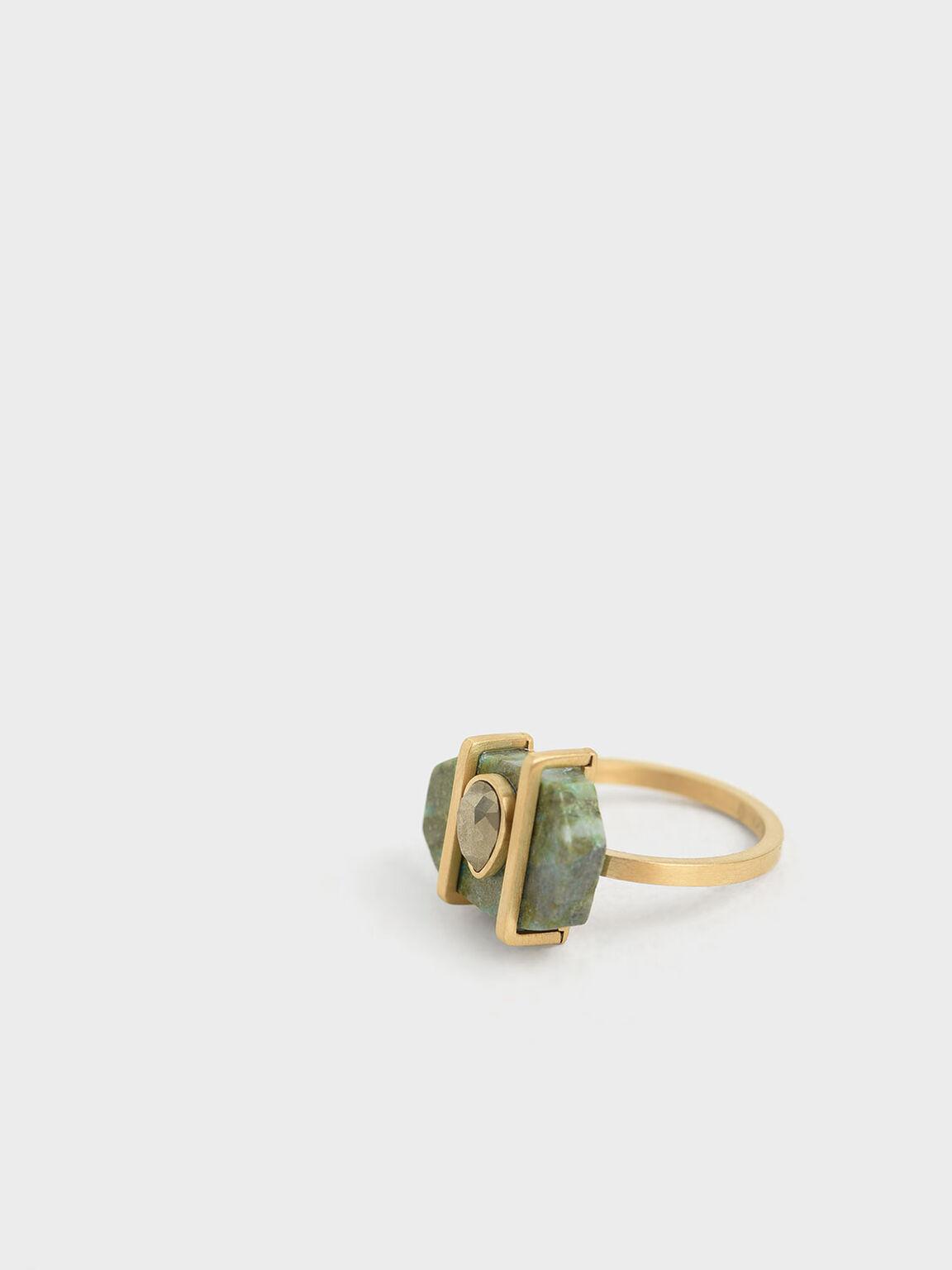 鳳凰石淚滴戒指, 綠松色, hi-res