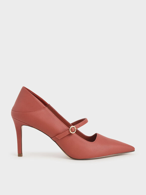 Mary Jane Stiletto Court Shoes, Brick, hi-res