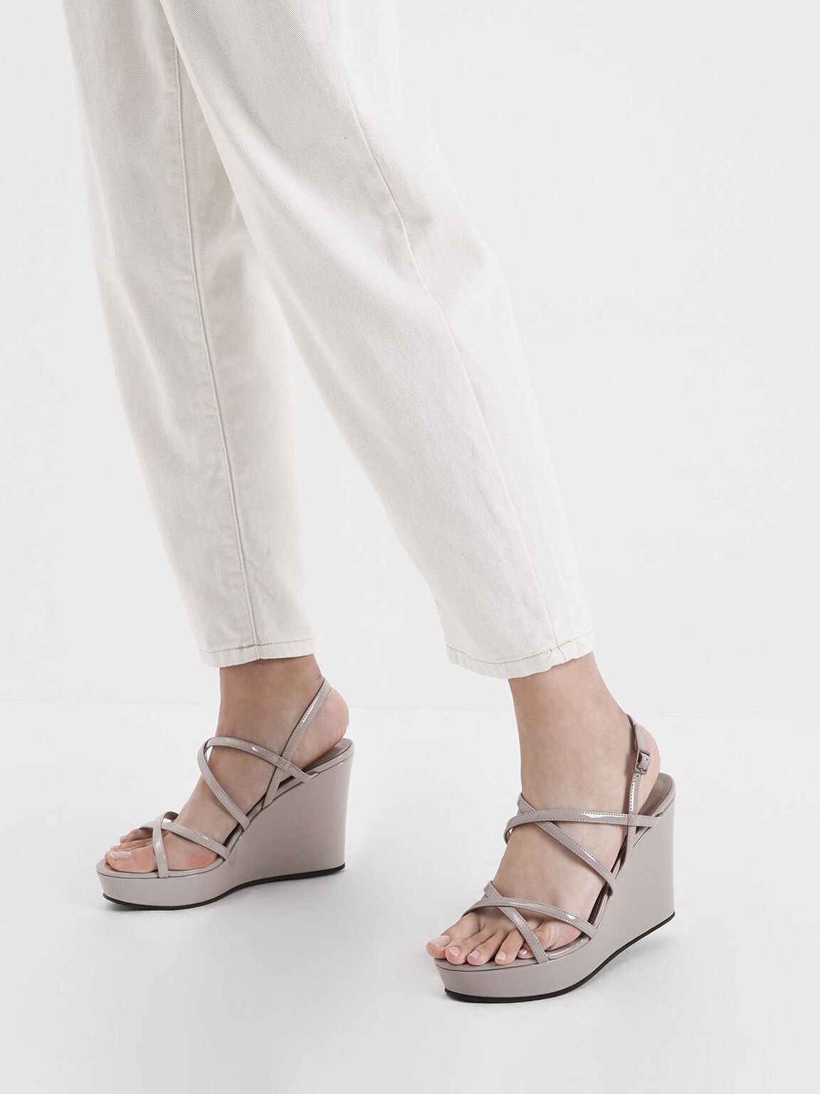 Patent Strappy Platform Wedges, Nude, hi-res