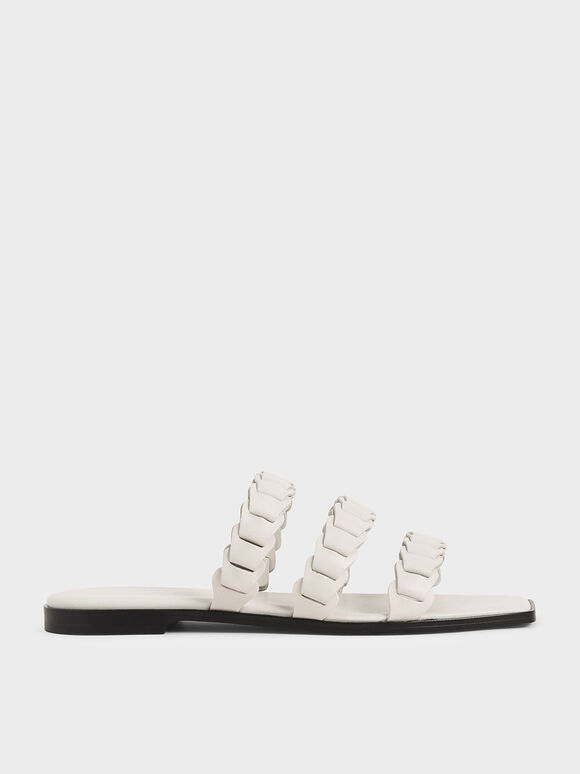Leather Pleated Strap Slide Sandals, Chalk, hi-res