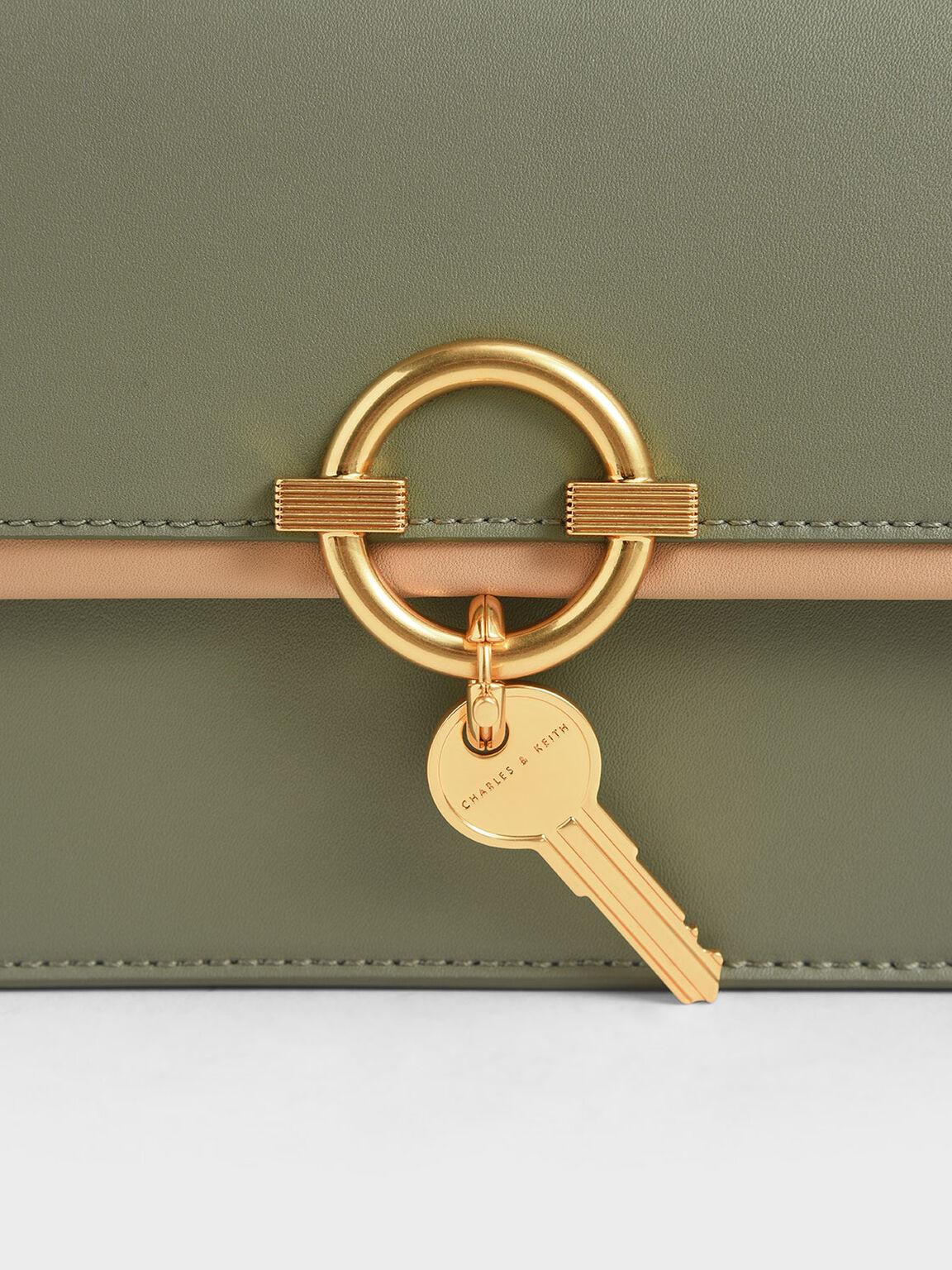 Metallic Accent Top Handle Bag, Sage Green, hi-res