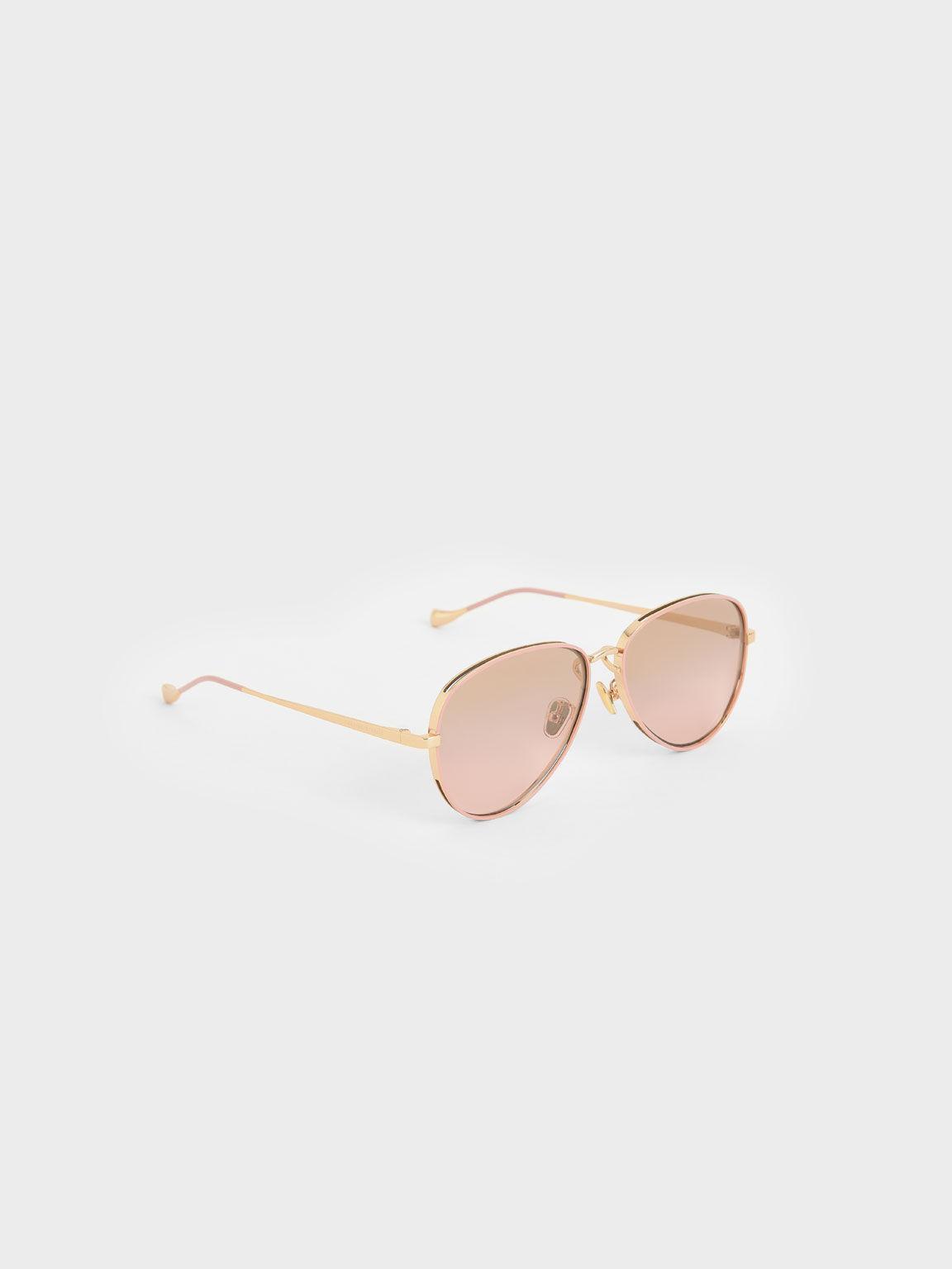 Tinted Aviator Sunglasses, Pink, hi-res