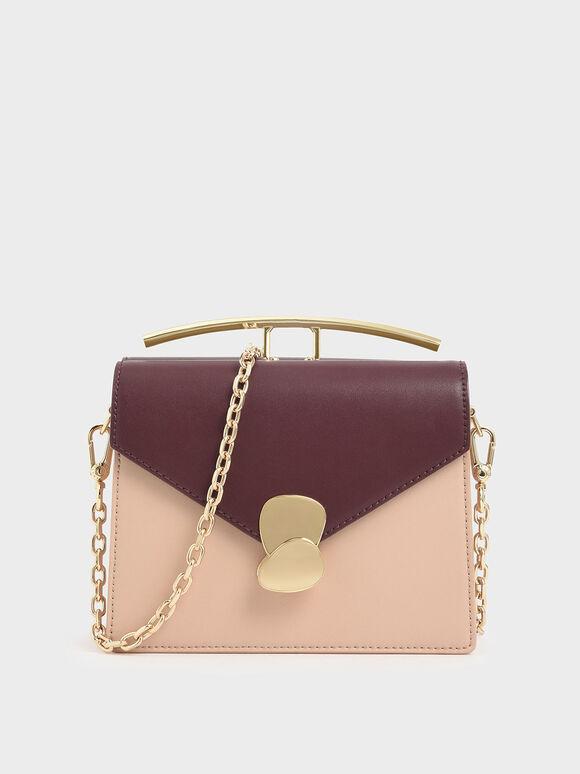 Two-Tone Metallic Push Lock Top Handle Bag, Multi, hi-res
