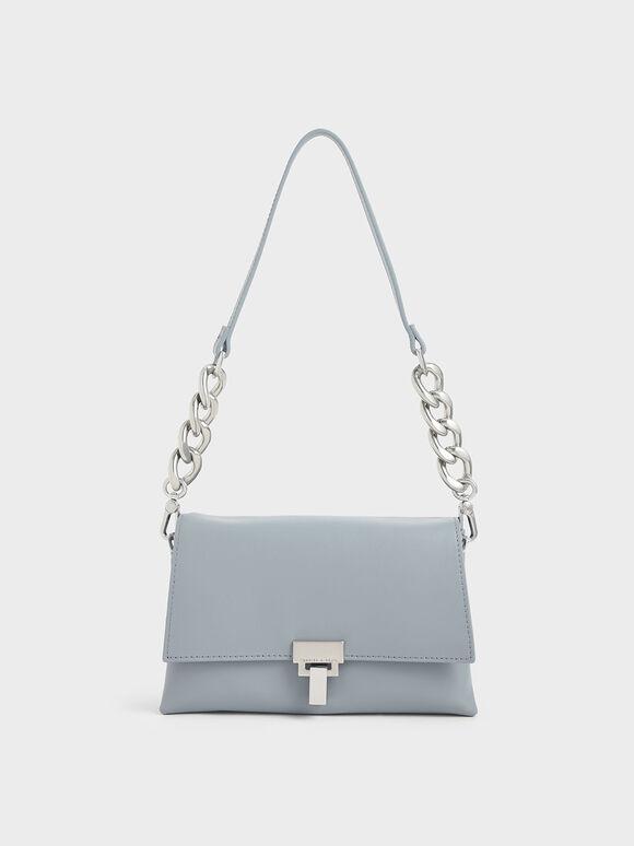 Leather Push-Lock Shoulder Bag, Steel Blue, hi-res