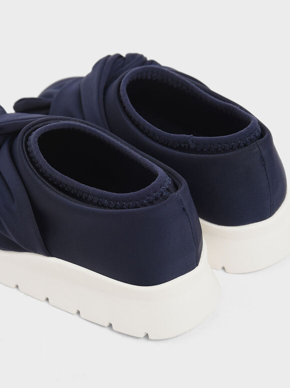 Girls' Neoprene Slip-On Sneakers, Dark Blue, hi-res