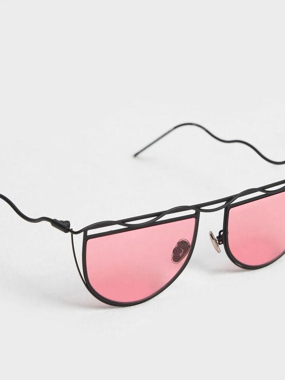 波浪鏡框墨鏡, 紅色, hi-res