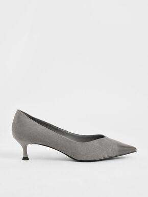 Brushed Effect Textured Sculptural Heel Pumps, Grey