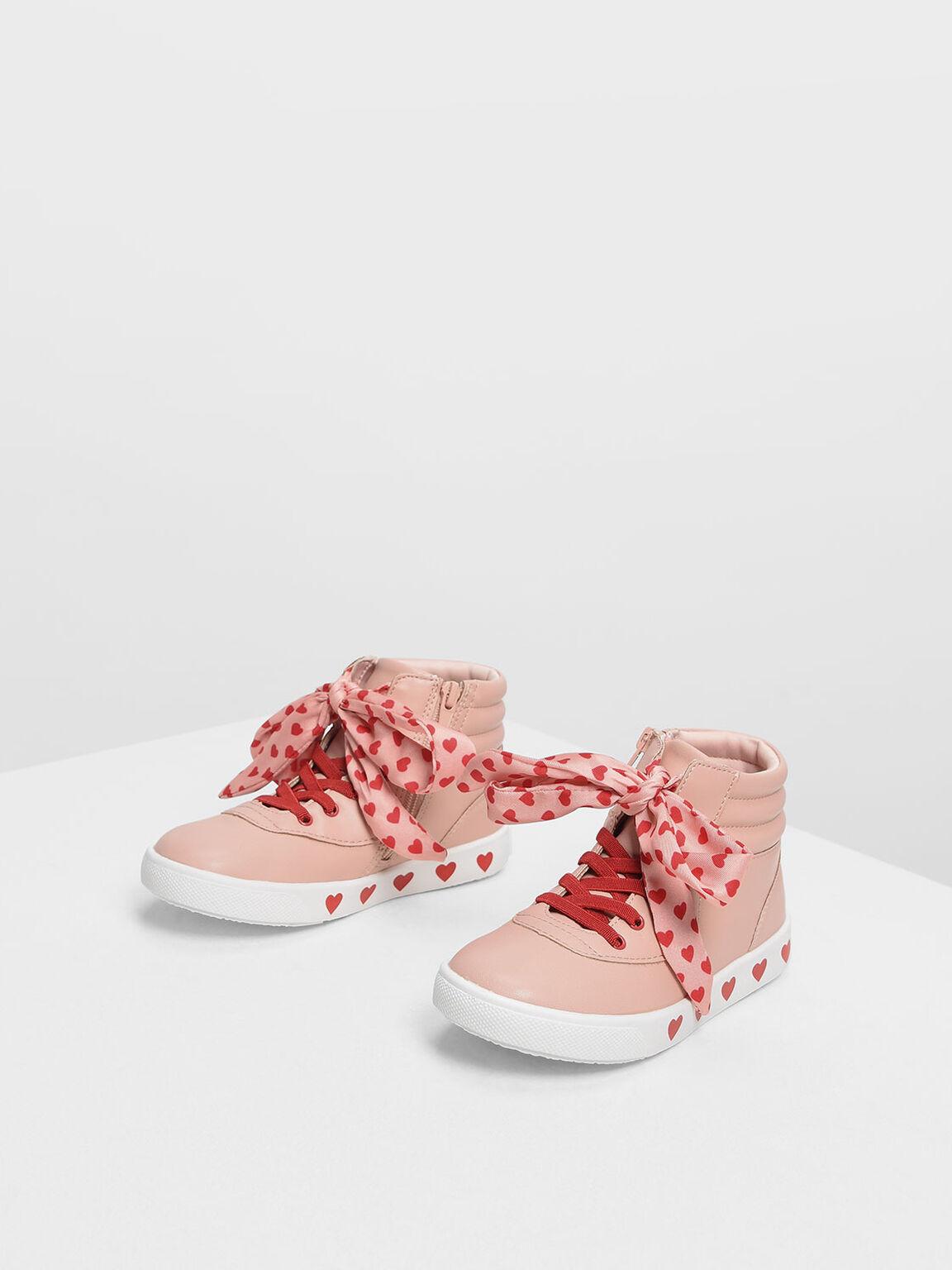 Kids' Heart Print High-Top Sneakers, Pink, hi-res